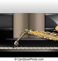 piano front view close-up and saxophone