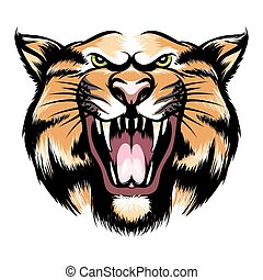 Roaring tiger head - Tiger head icon. Hand drawn roaring...
