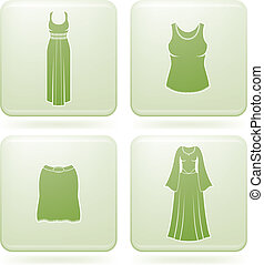 Olivine Square 2D Icons Set: Woman\'s Clothing
