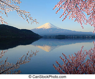 Mount Fuji with water reflection, view from Lake Kawaguchiko
