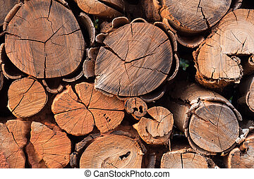 Pile of wood logs storage