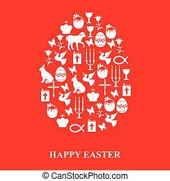 Egg of Easter symbols on red background