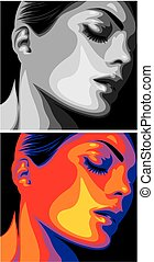 nice woman head in two colors