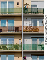 balconies in a residential building - many balconies in a...