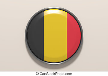 Button with Belgium flag - 3d rendering pf Belgium button on...