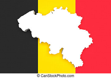 Silhouette of Belgium map with Belgium flag - 3d rendering...