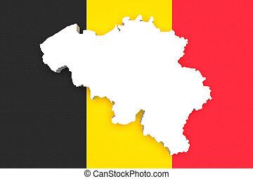 Silhouette of Belgium map with Belgium flag - 3d rendering...