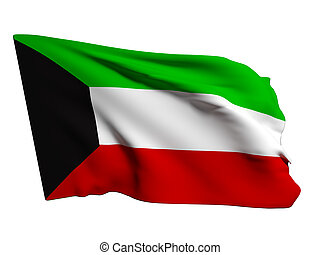 Kuwait flag - 3d rendering of a Kuwait flag on a white...