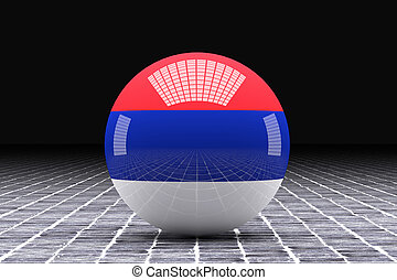 Serbia flag - 3d rendering of a Serbia flag on a sphere