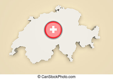 Silhouette of Switzerland with Switzerland flag on button -...
