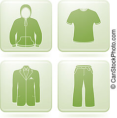 Cobalt Square 2D Icons Set: Man\'s Clothing