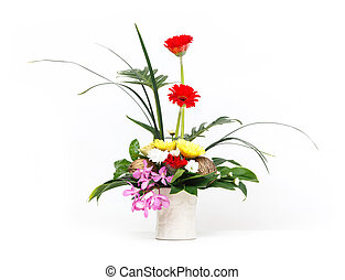Flower bouquet in ceramic pot - Close up flower bouquet in...