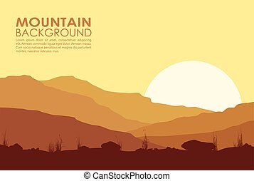 Sunset in the Mountains - Yellow sunset in mountains. Vector...