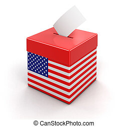 Ballot Box with USA flag. Image with clipping path