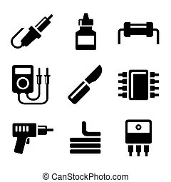 Solder Icons Set on White Background Vector