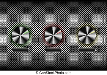 Metal buttons, switches software controls, vector Illustration