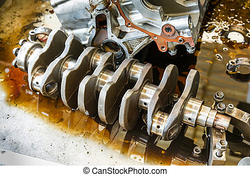 Engine repairing in garage - Engine crankshaft repairing...