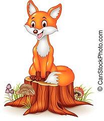 Cartoon happy fox sitting