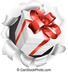 Gift Present Ripping Through Background - An illustration of...