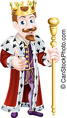 Fun Cartoon King - Cute bearded king cartoon man with...