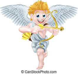 Valentines Cupid Angel - Cartoon valentines day cupid winged...