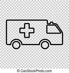Ambulance sign. Line icon on transparent background