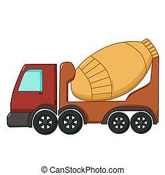 Concrete mixer icon, cartoon style - Urban transport icon in...