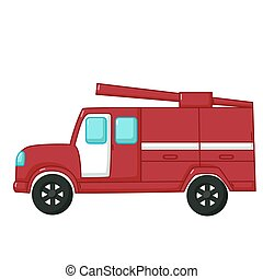 Red fire engine car icon, cartoon style - Urban transport...