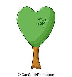 Heart tree icon, cartoon style