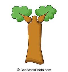 Baobab tree icon, cartoon style - Baobab tree icon in...