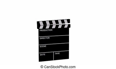 Animated film clapboard on white background - 5 second long...