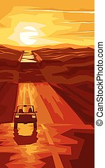 Road with car at sunset. - Vertical cartoon illustration...