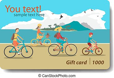 Summer sale discount gift card. Branding design for travel agency. Vacation theme for gift card design. Family ride the bike on the beach.