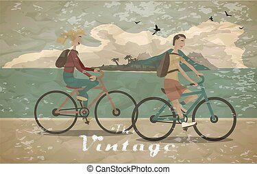 Young woman and man ride the bike on the beach vintage faded style. Healthy leisure and freedom riding bike. Woman and man with backpacks pedaling on summer time. Flat vector color illustration