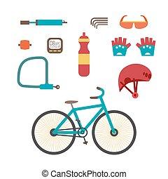 Mountain bike kit. Set riding bikes isolated on white...