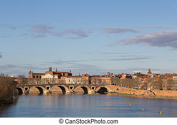 View over Garonne River towards Pont Neuf in Toulouse - View...