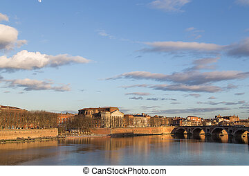 View over Garonne River in Toulouse in France with the...