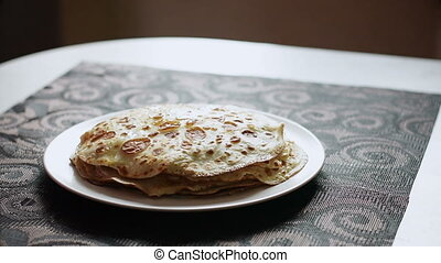 Pancakes with Butter - Pancakes with butter Butter knife put...