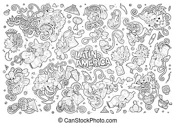 Sketchy hand drawn Doodle Latin American objects - Sketchy...