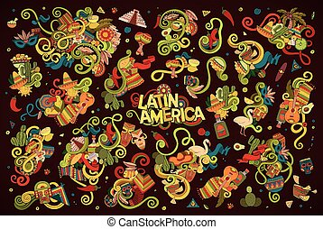 Colorful hand drawn Doodle Latin American objects - Hand...