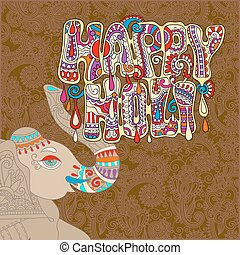 original Happy Holi design with head elephants on floral...