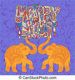 original Happy Holi design with two elephants on floral...