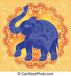 original indian pattern with elephant for invitation, cover...