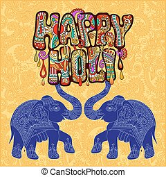 Happy Holi design with two elephants on floral indian...