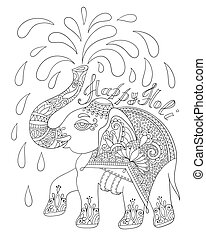 black and white decorative elephant with inscription Happy Holy