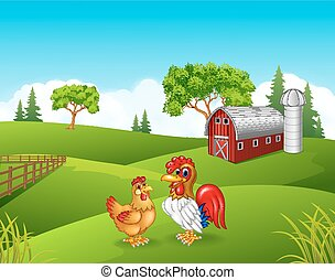 Cartoon chicken rooster in the farm - Vector illustration of...