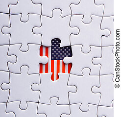 abstract, america, american, backdrop, background, banner, closeup, color, concept, election, flag, flat, freedom, games, government, graphic, holiday, icon, illustration, independence, jigsaw, july, leisure, liberty, metaphor, missing, nation, national, objec, object, part, patriot, patriotic, patriotism, piece, politics, puzzle, raster, red, sign, solution, star, states, symbol, united, unity, usa, wallpaper, white