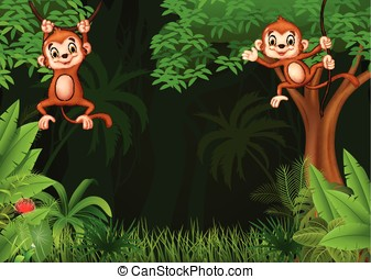 Cute monkey hanging in the jungle - Vector illustration of...