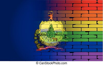 Rainbow Wall Vermont - A well worn wall painted with a LGBT...