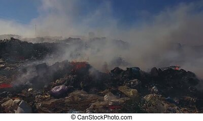 Big Heap Of Garbage Burning At Landfill - AERIAL VIEW....